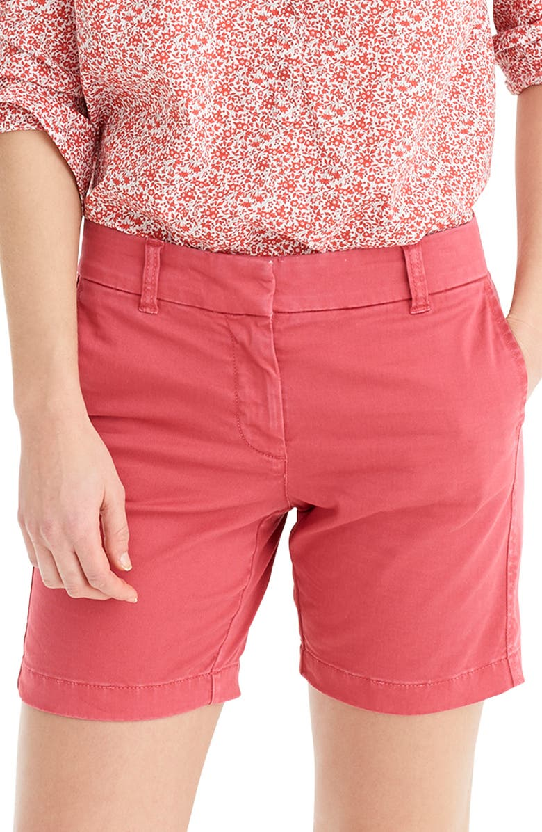 J.CREW Stretch Cotton Chino Shorts, Main, color, OLD RED