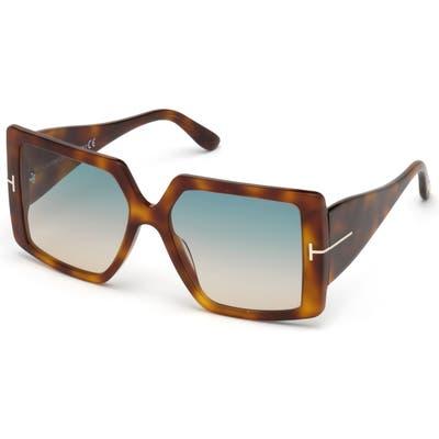 Tom Ford Quinn 57mm Gradient Square Sunglasses - Light Havana/ Blue