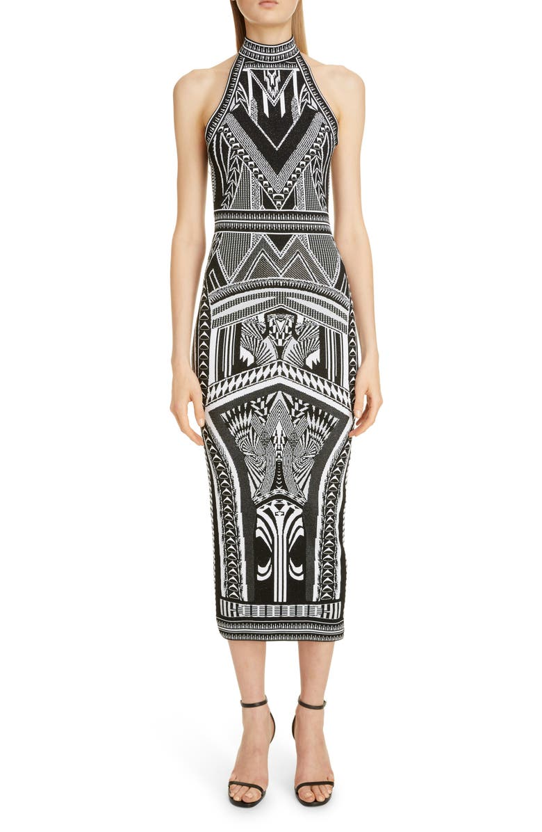 BALMAIN Jacquard Halter Midi Dress, Main, color, 004