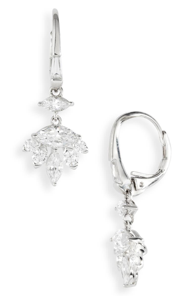 NADRI Tango Cubic Zirconia Drop Earrings, Main, color, RHODIUM