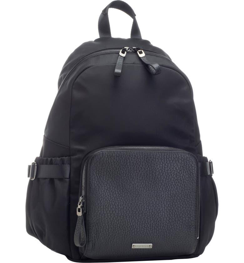 STORKSAK Hero Luxe Water Resistant Nylon Backpack Diaper Bag, Main, color, BLACK