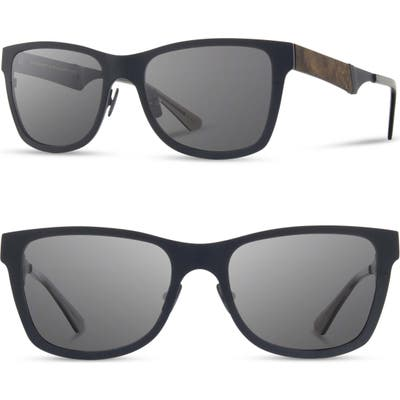 Shwood Canby 5m Sunglasses - Navy/ Elm Burl/ Grey