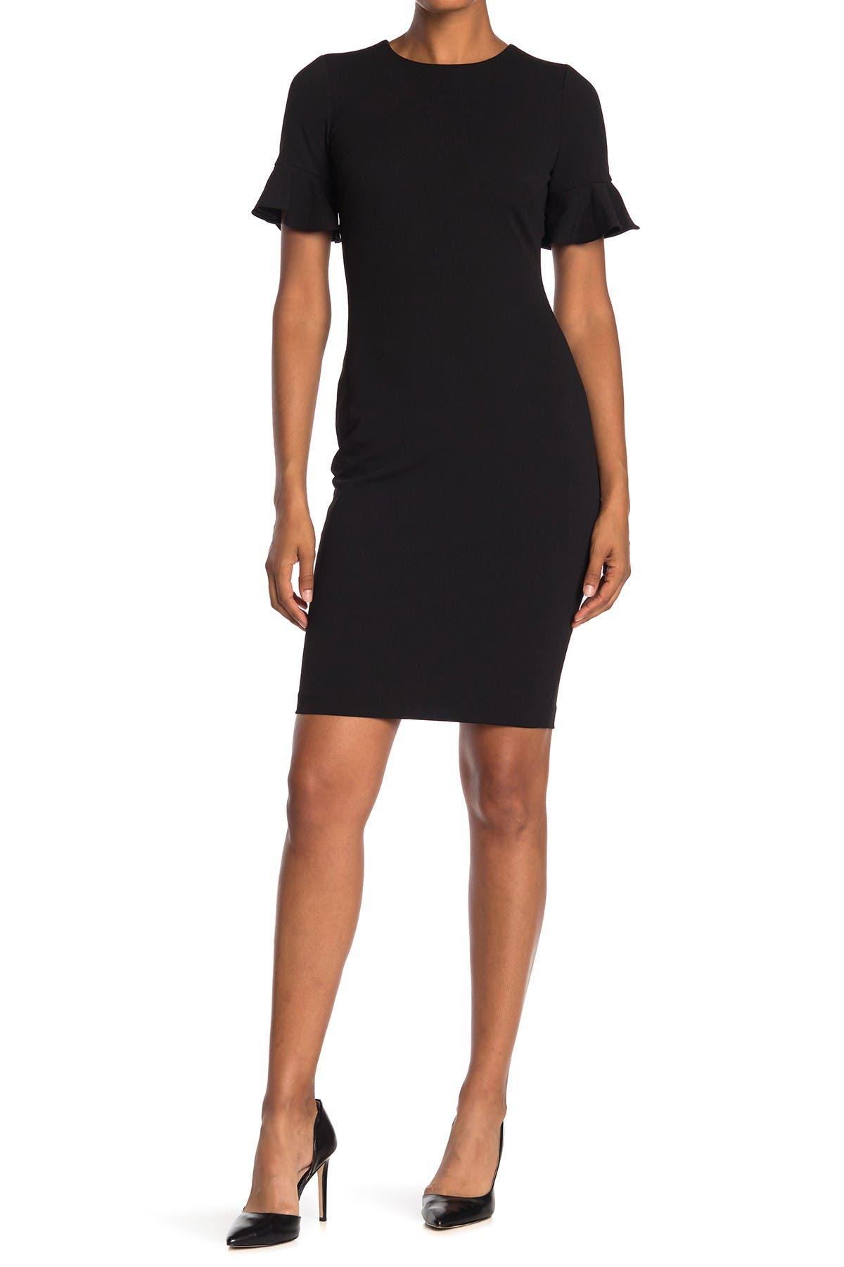 Image of Calvin Klein Short Flutter Sleeve Sheath Dress