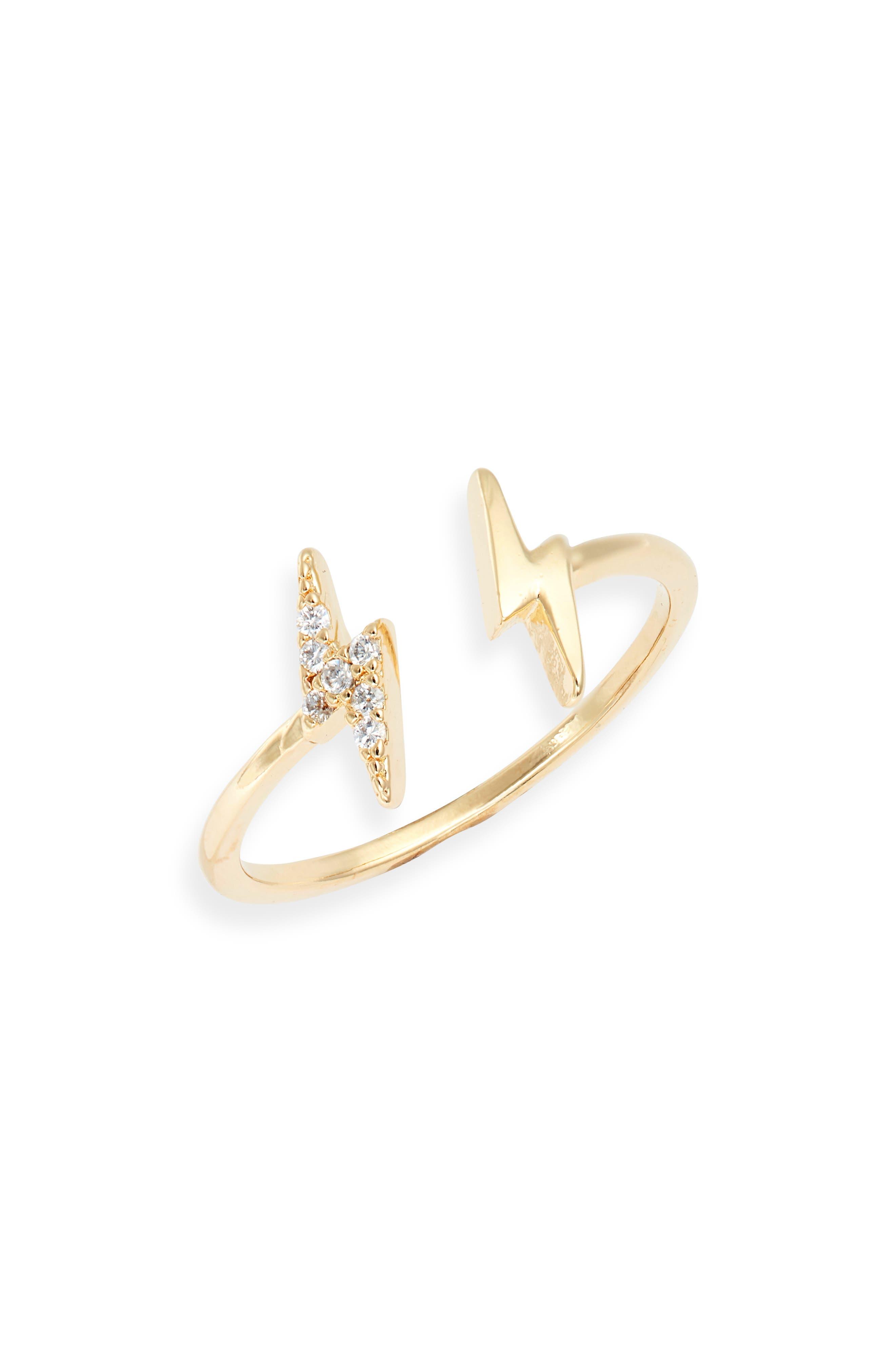 Bracha Lightning Bolt Adjustable Ring in Gold at Nordstrom