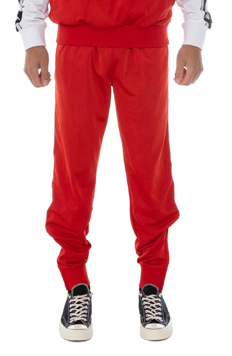 KAPPA Authentic La Bergar Slim Fit Track Pants, Main, color, RED BLAZE-BLACK