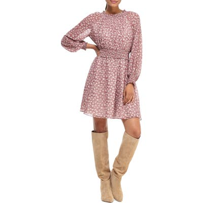Gal Meets Glam Collection Wimberly Floral Long Sleeve Fit & Flare Dress, Pink