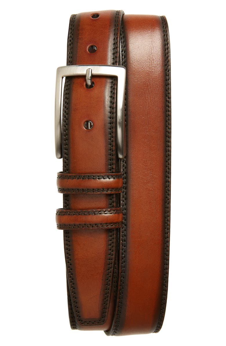 TORINO Kipskin Leather Belt, Main, color, BROWN
