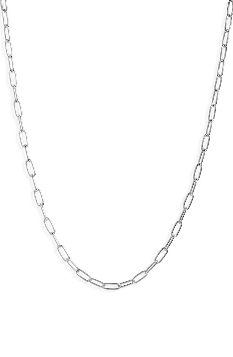 NORDSTROM Delicate Paperclip Chain Necklace, Main, color, RHODIUM