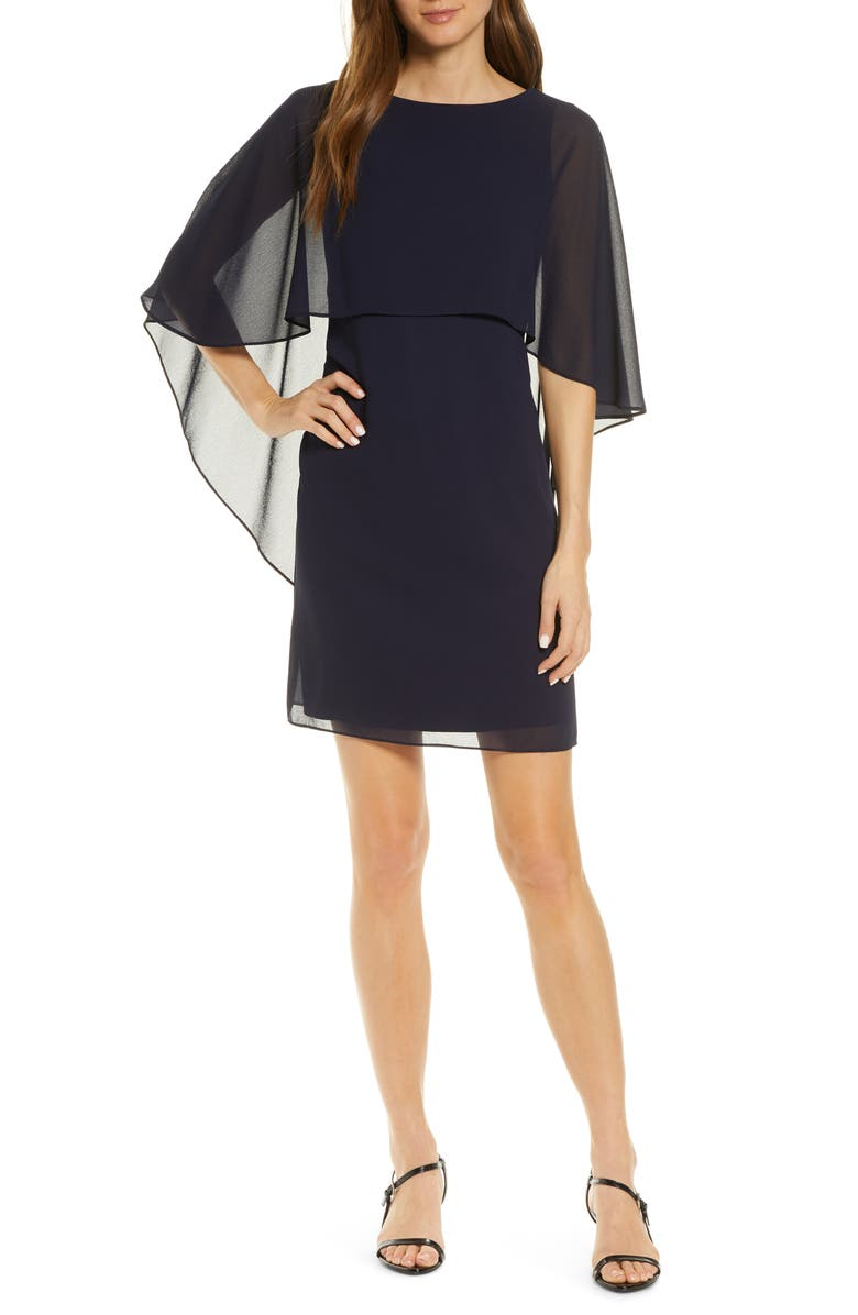 VINCE CAMUTO Chiffon Cape Cocktail Dress, Main, color, NAVY