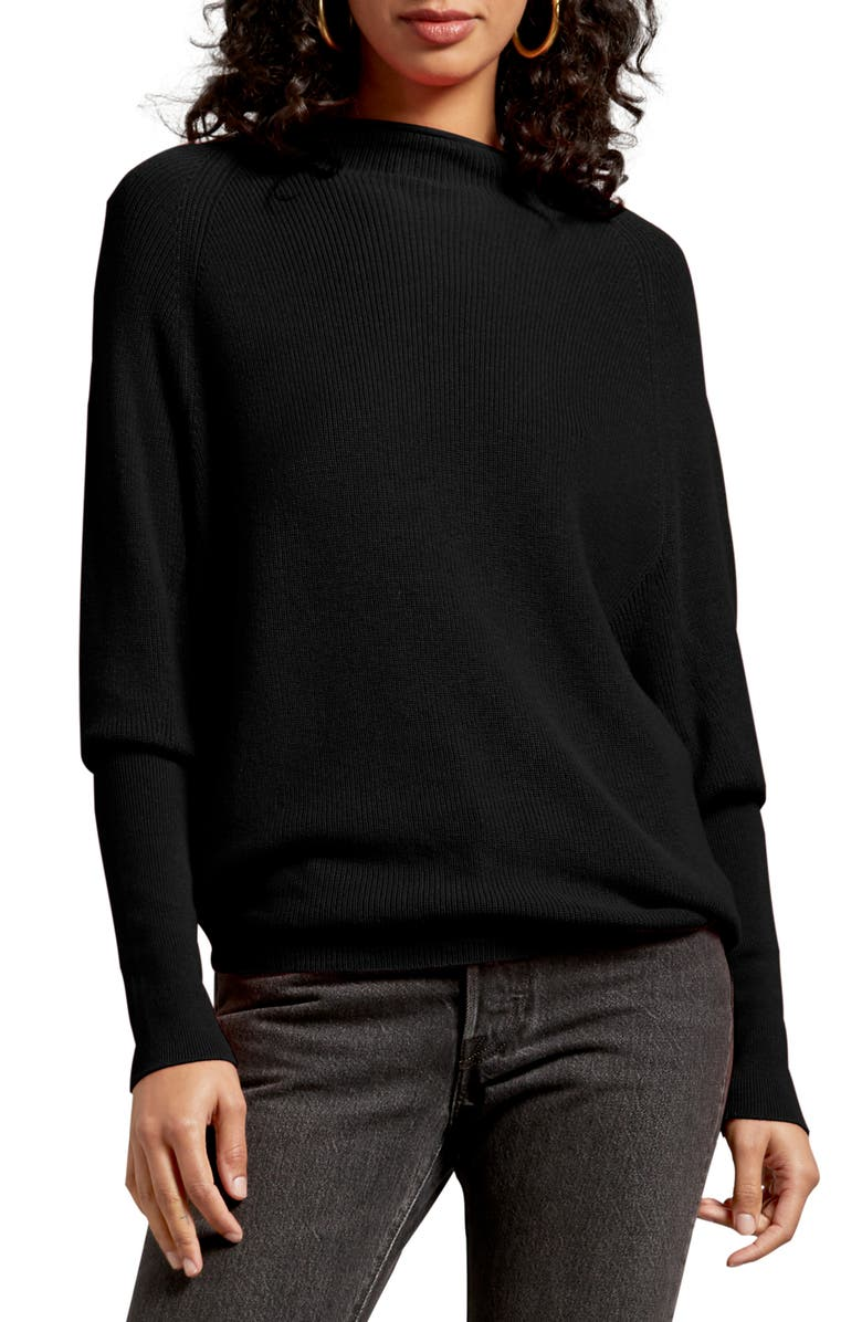 MICHAEL STARS Jette Veronia Ribbed Sweater, Main, color, BLACK