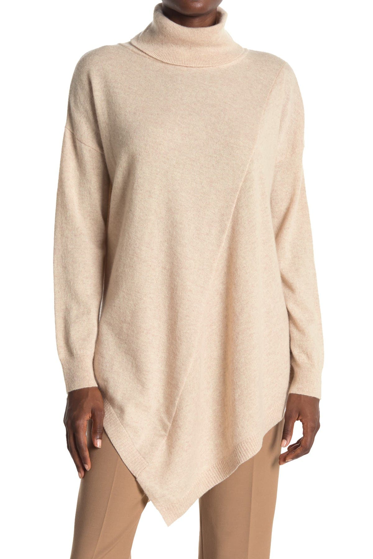 Image of Donna Karan Cowl Neck Asymmetric Hem Cashmere Sweater