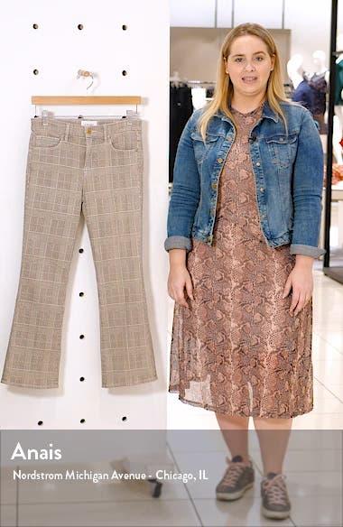 Le Cropped High Waist Mini Plaid Bootcut Jeans, sales video thumbnail