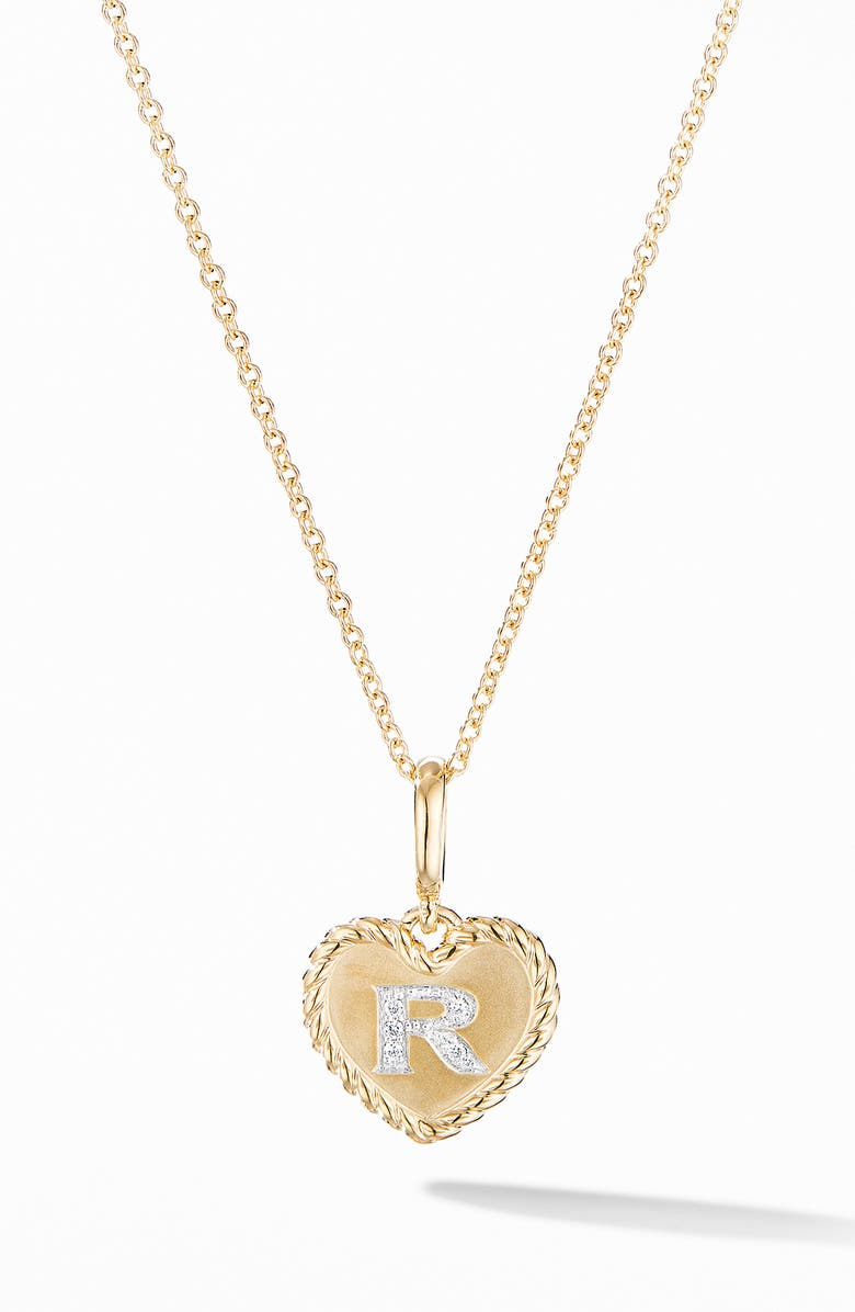 DAVID YURMAN Initial Heart Charm Necklace in 18K Yellow Gold with Pavé Diamonds, Main, color, YELLOW GOLD/ R