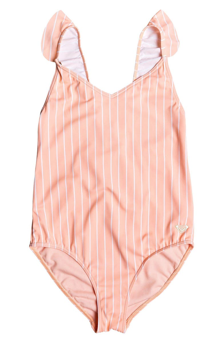 ROXY Field of Love One-Piece Swimsuit, Main, color, PEACH BUD S POOL STRIPES