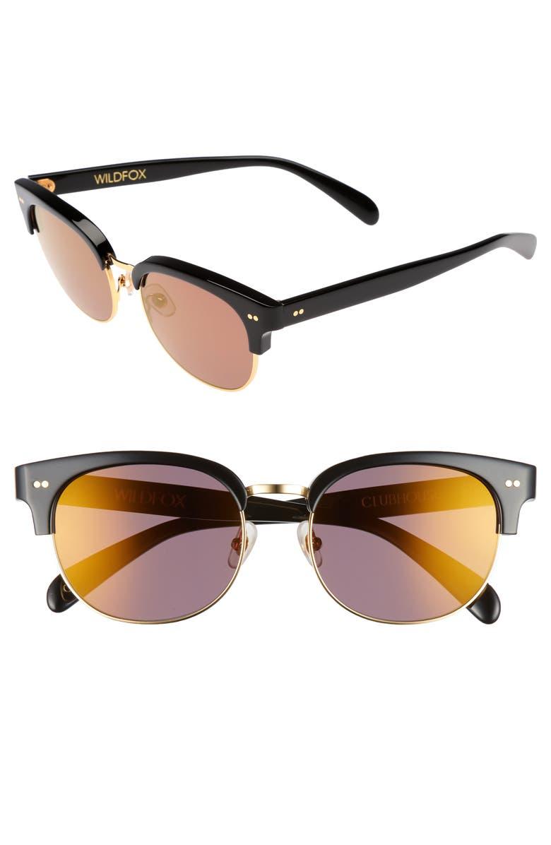 WILDFOX Clubhouse 50mm Semi-Rimless Sunglasses, Main, color, BLACK/ GOLD
