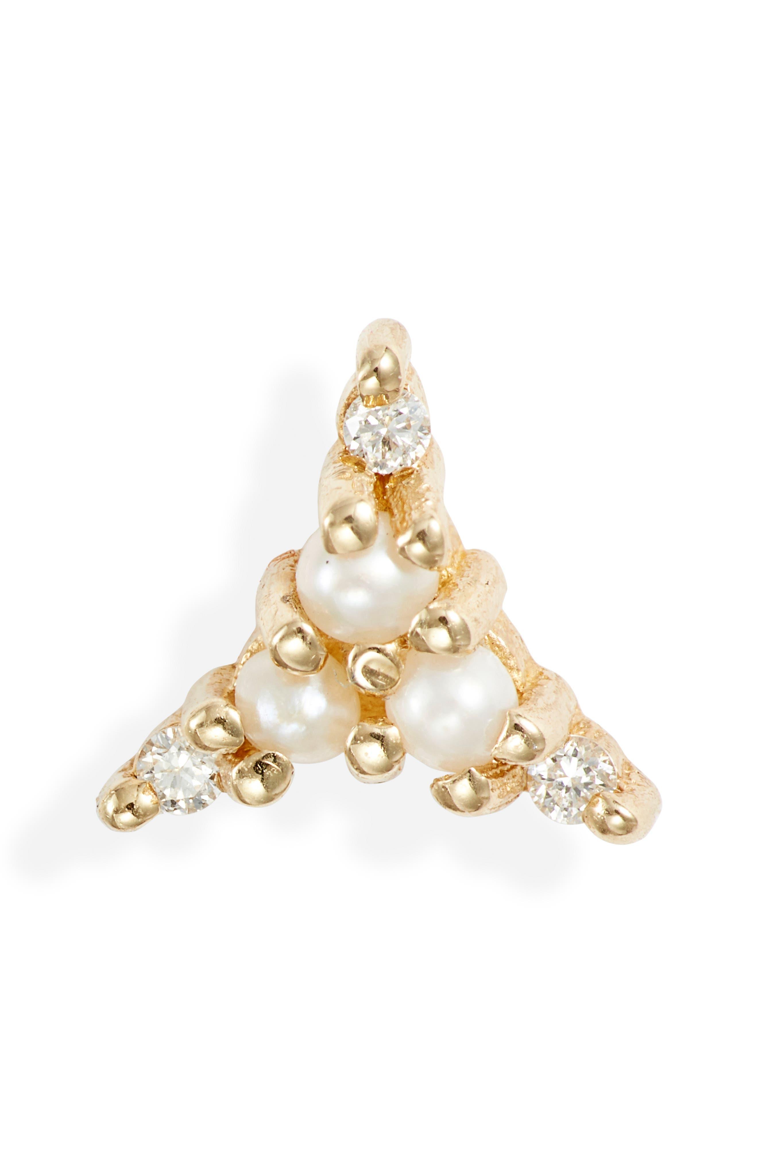 Pearl & Diamond Triad Stud Earring