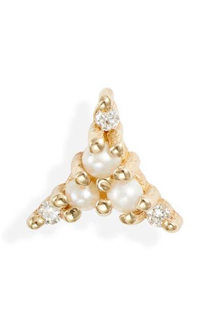 Jennie Kwon Designs Pearl & Diamond Triad Stud Earring In Yellow Gold/ Diamond/ Pearl