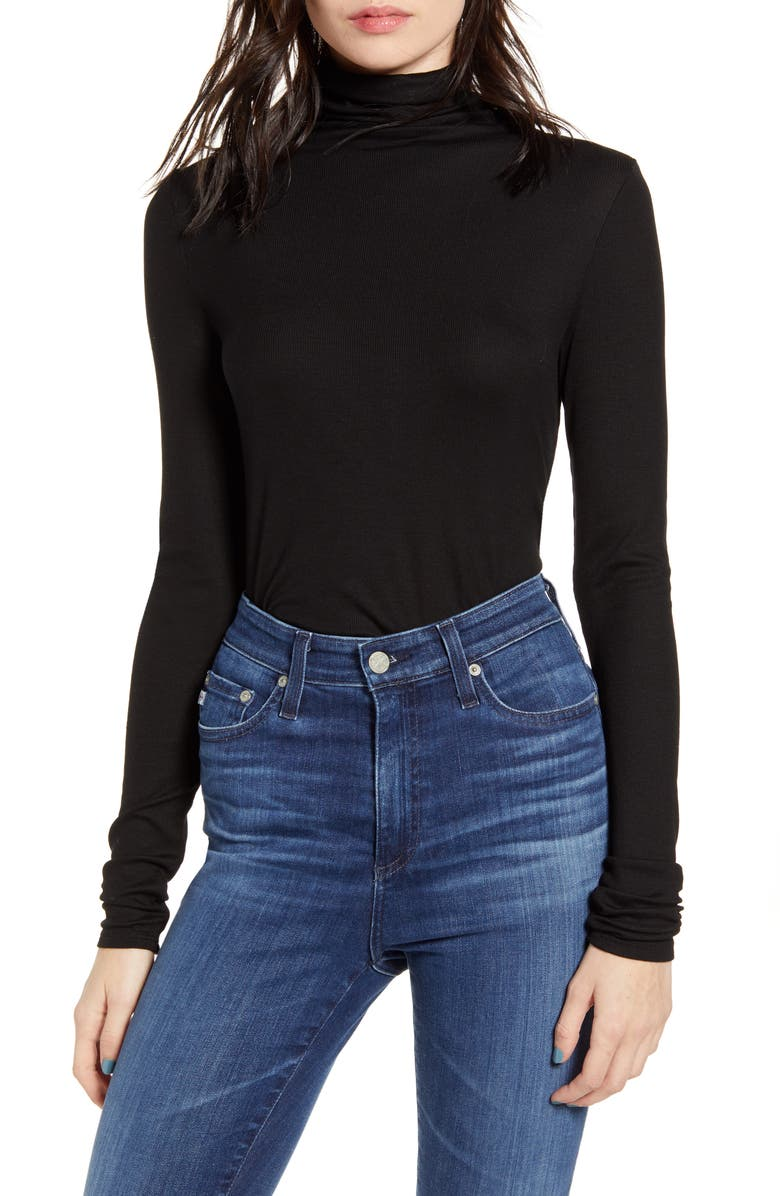 AG Chels Turtleneck Top, Main, color, TRUE BLACK