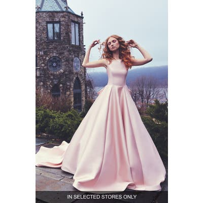 Sareh Nouri Brooklyn Bateau Neck Ballgown With Cathedral Train, Size IN STORE ONLY - Pink