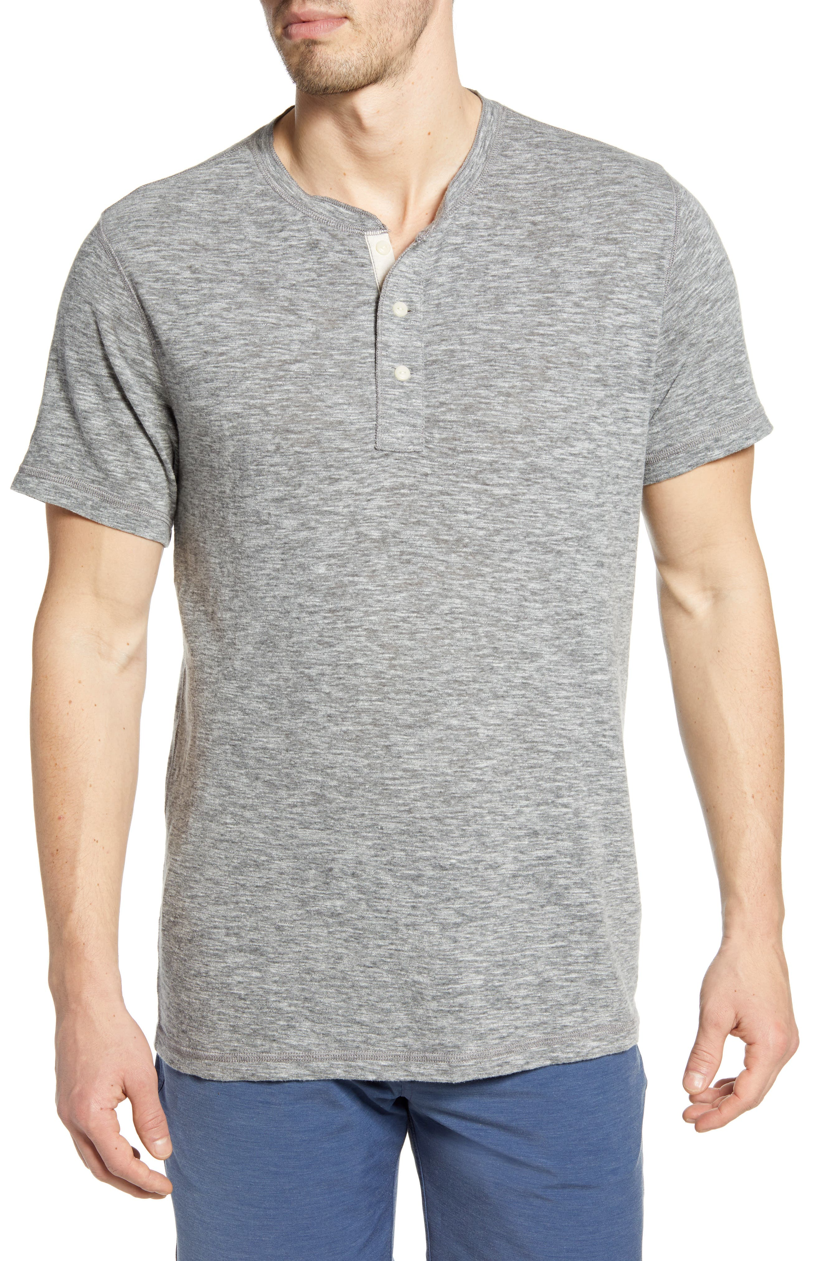 Faherty Cottons SHORT SLEEVE HEATHERED HENLEY