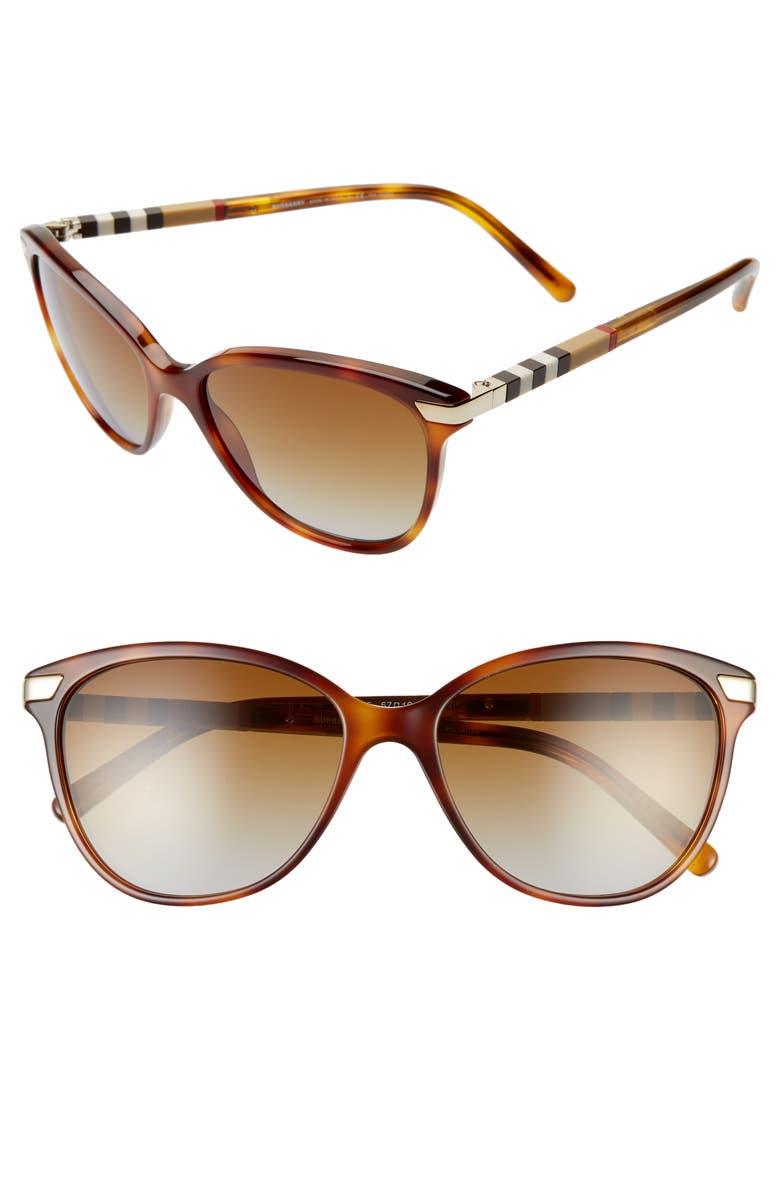 BURBERRY Check 57mm Polarized Gradient Cat Eye Sunglasses, Main, color, LIGHT HAVANA/ BROWN GRADIENT