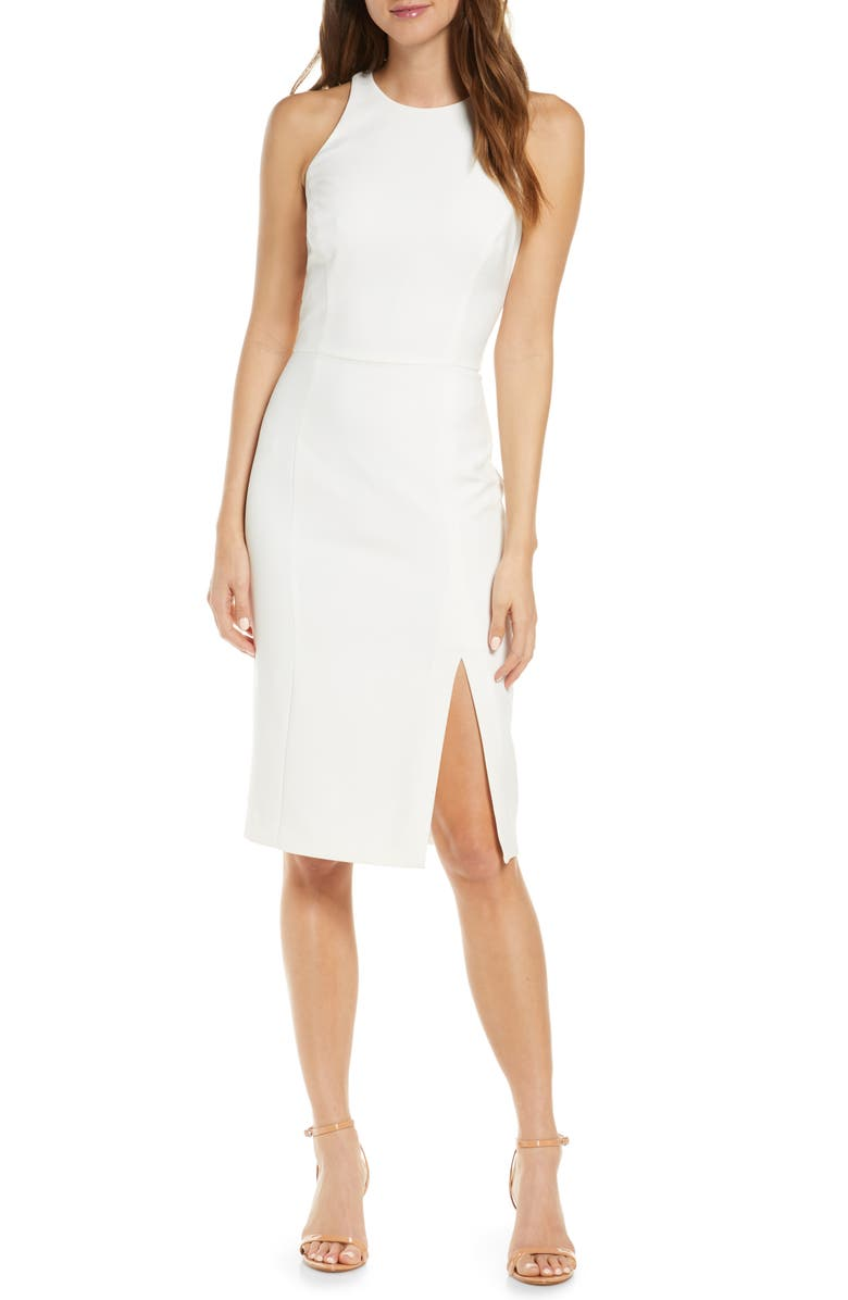 ADELYN RAE Tay Sleeveless Cocktail Dress, Main, color, WHITE-NUDE