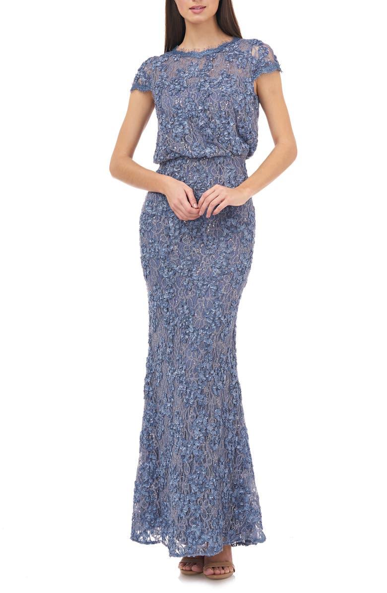 JS COLLECTIONS Blouson Lace Gown, Main, color, 033