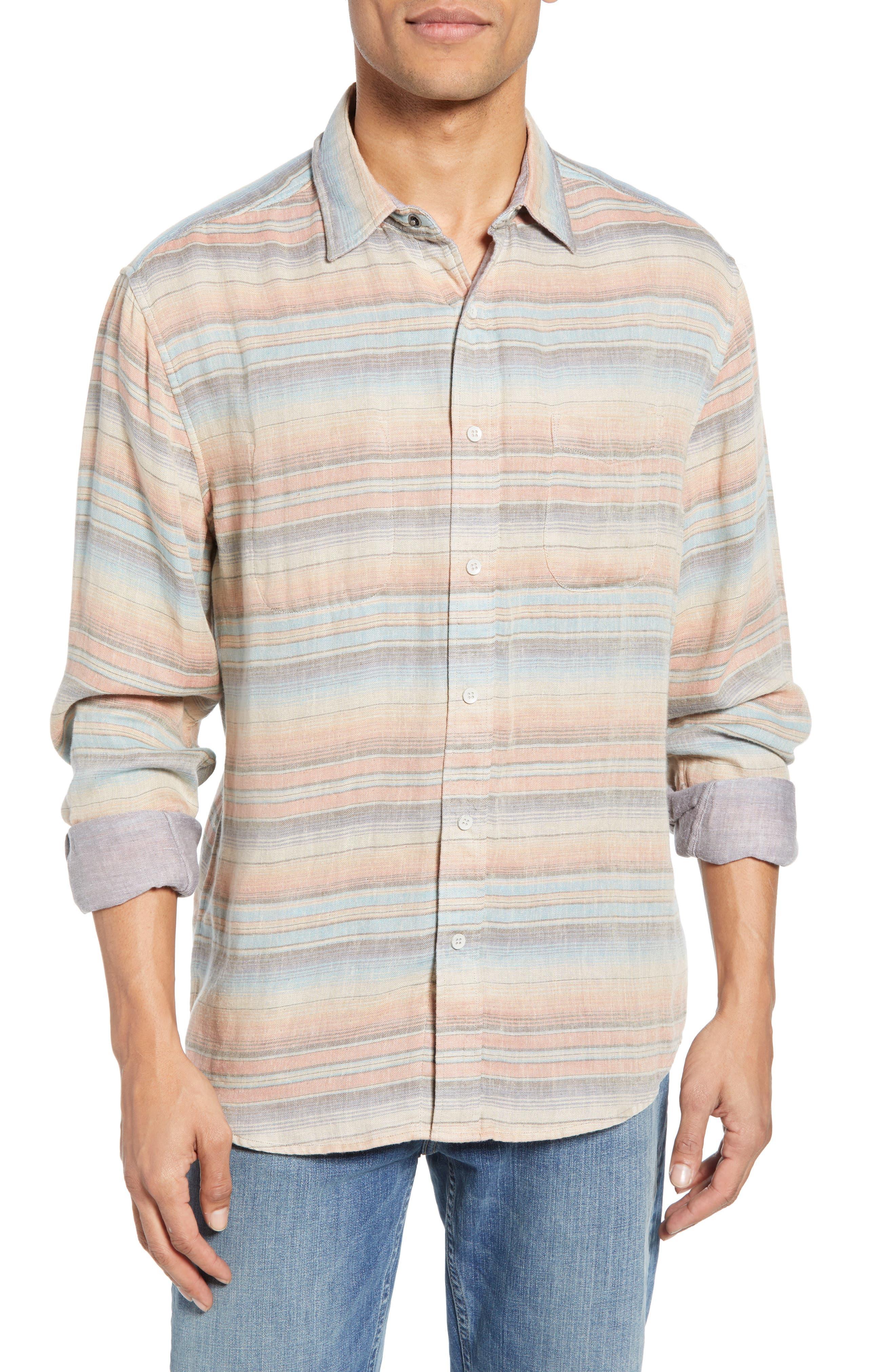 Faherty Belmar Regular Fit Reversible Shirt, Coral