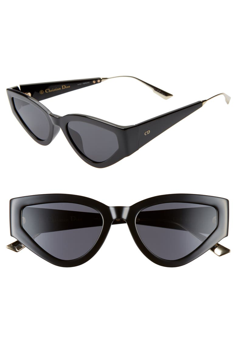 DIOR Catstyle1 53mm Cat Eye Sunglasses, Main, color, 001