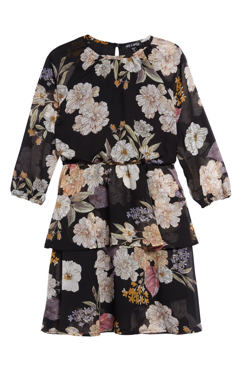 AVA & YELLY Long Sleeve Tiered Chiffon Dress, Main, color, BLACK