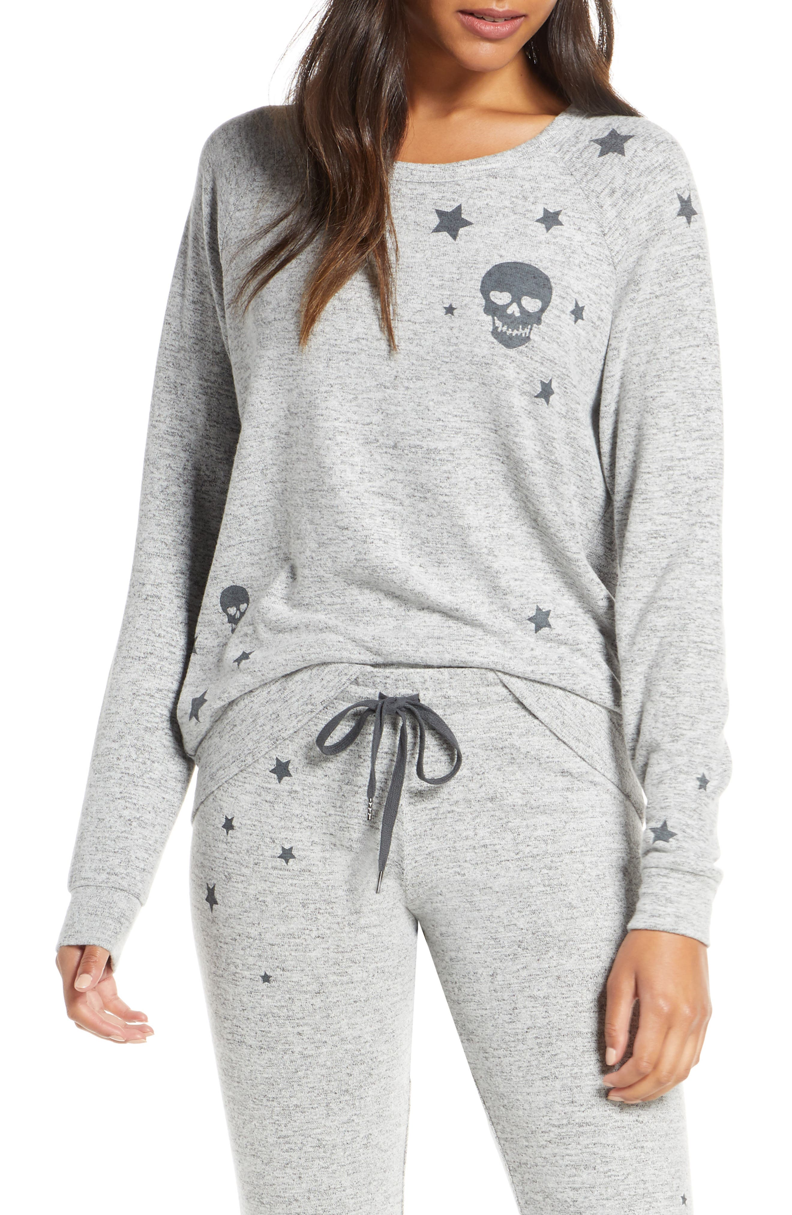 Pj Salvage Stars & Skulls Pajama Top, Grey