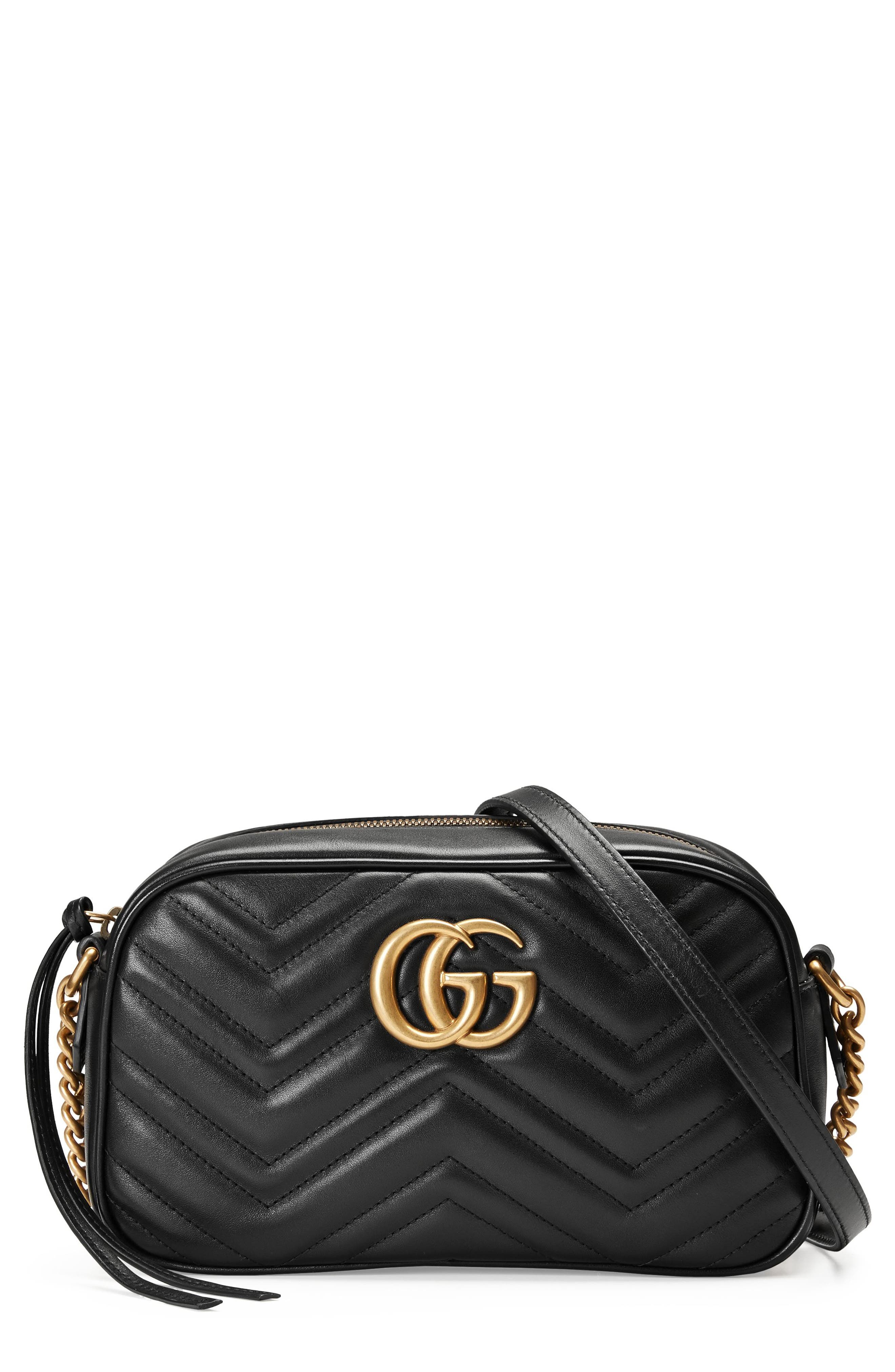 ,                             Small GG Marmont 2.0 Matelassé Leather Camera Bag,                             Main thumbnail 1, color,                             NERO/ NERO