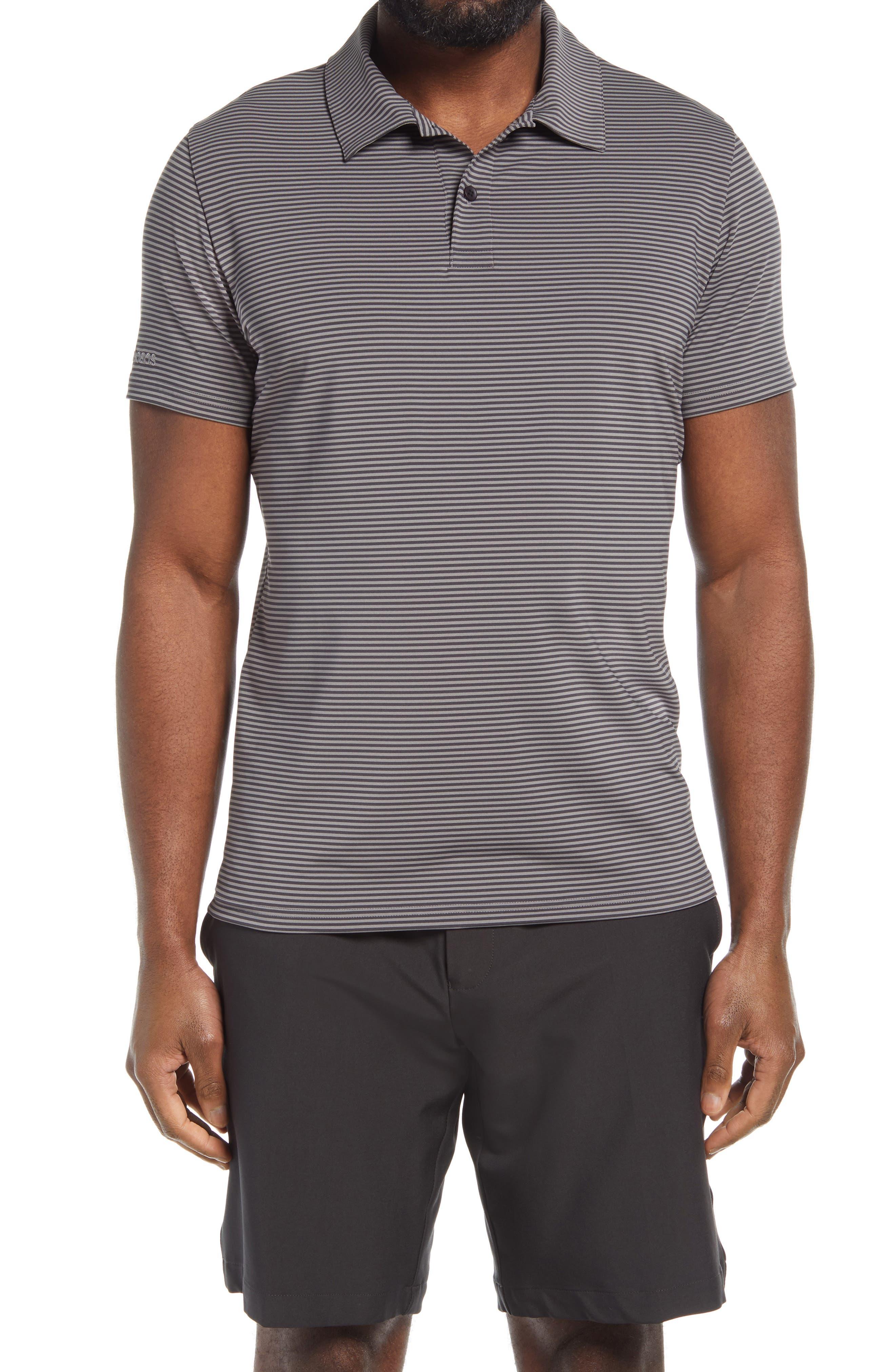 Men's Slim Fit Stripe Performance Golf Polo