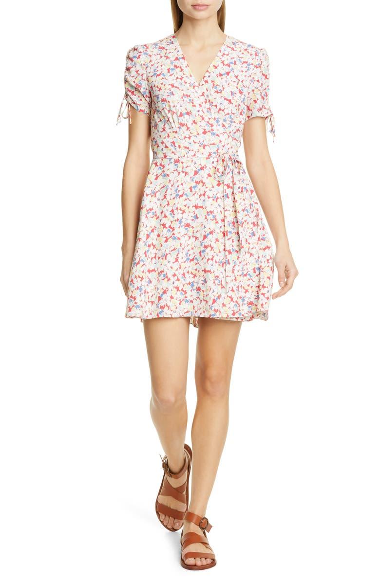 POLO RALPH LAUREN Floral Crepe Wrap Dress, Main, color, 100