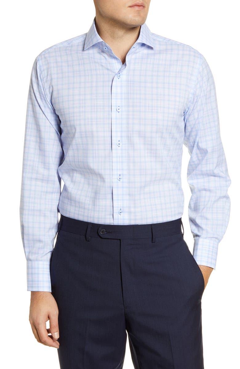 LORENZO UOMO Trim Fit Easy Iron Plaid Dress Shirt, Main, color, LIGHT BLUE