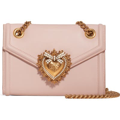 Dolce & gabbana Micro Devotion Leather Crossbody Bag - Pink