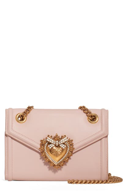 Dolce & Gabbana Micro Devotion Leather Crossbody Bag - Pink In Cipria