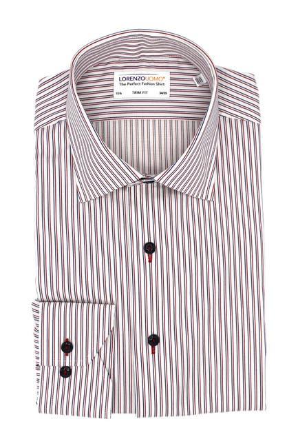 Image of Lorenzo Uomo Stretch Textured Stripe Trim Fit Dress Shirt