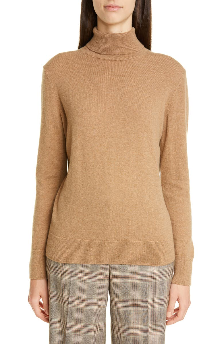 LAFAYETTE 148 NEW YORK Metallic Cashmere Turtleneck Sweater, Main, color, CAMMELLO MELANGE