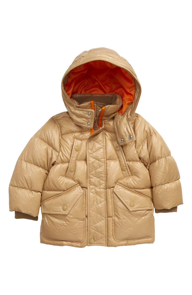 BURBERRY Ryker Hooded Quilted Down Coat, Main, color, HONEY