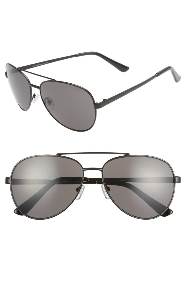 THE RAIL Rhett 60mm Aviator Sunglasses, Main, color, MATTE BLACK/ GREY