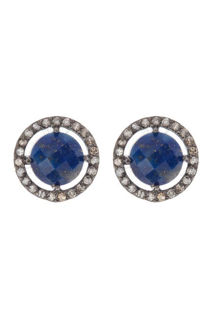 Image of ADORNIA Fine Sterling Silver Prong Set Blue Sapphire & Pave Crystal Round Stud Earrings