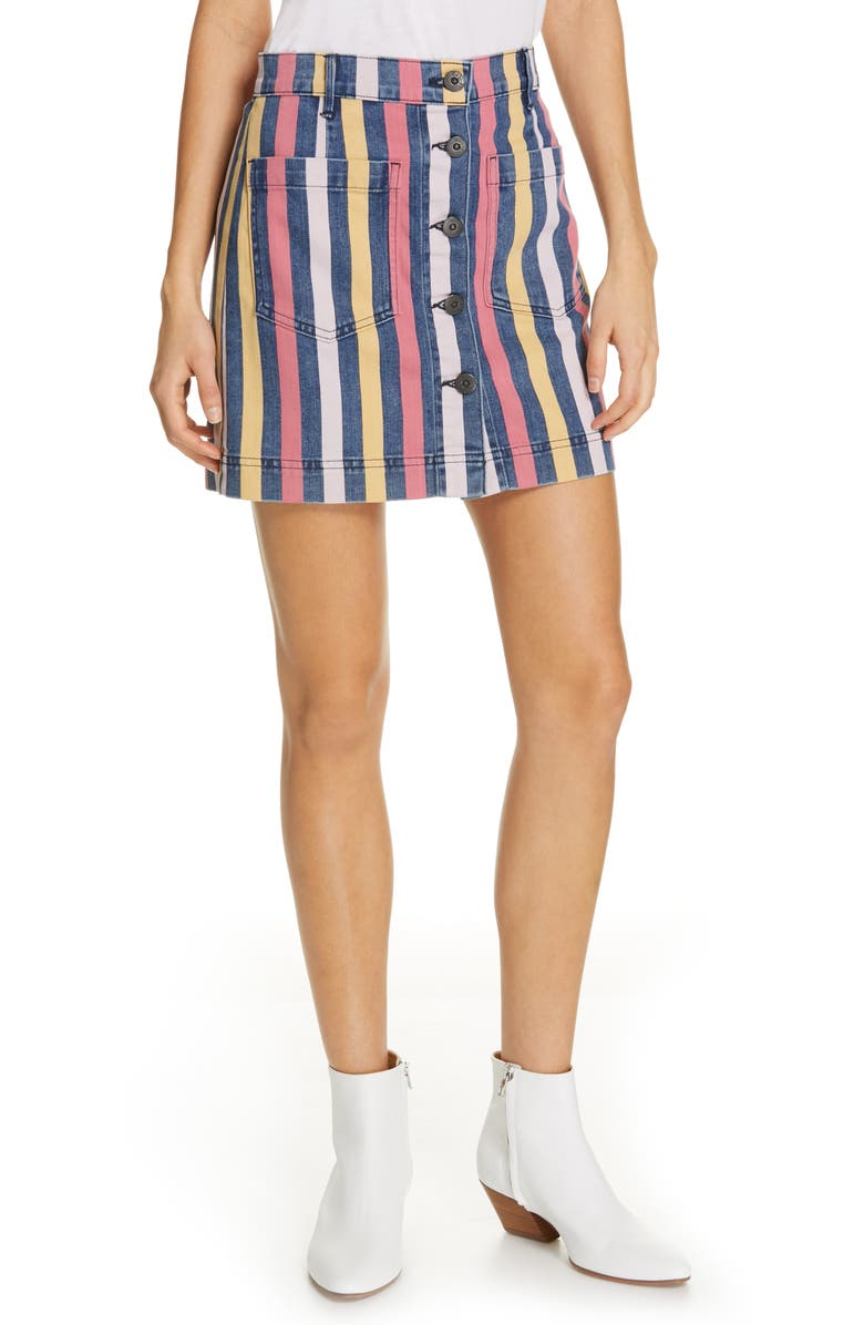 3X1 NYC Rose Stripe Denim Skirt, Main, color, DUSTIN STRIPE