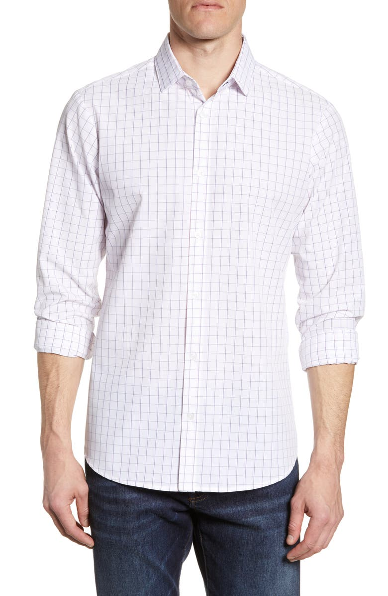 MIZZEN+MAIN McCall Trim Fit Windowpane Check Performance Shirt, Main, color, WHITE