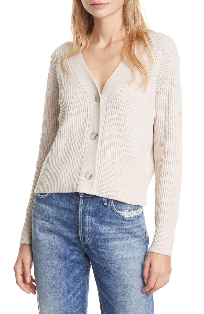 CLUB MONACO Rib Wool Blend Cardigan, Main, color, OAT
