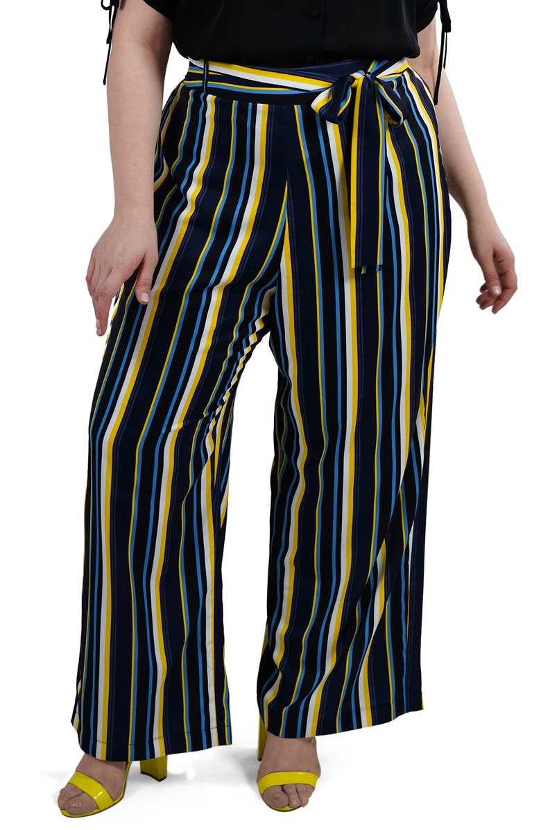 MARÉE POUR TOI Stripe Wide Leg Pants, Main, color, BLACK/ COBALT/ YELLOW