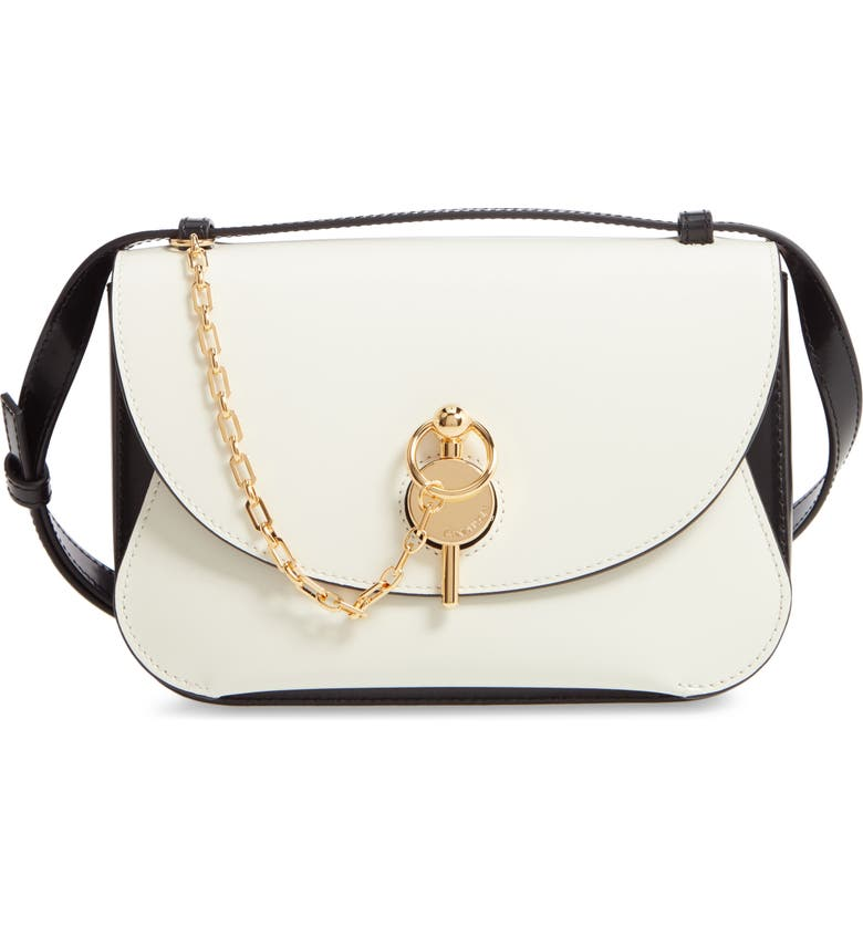 JW ANDERSON The Keyts Leather Shoulder Bag, Main, color, OFF WHITE