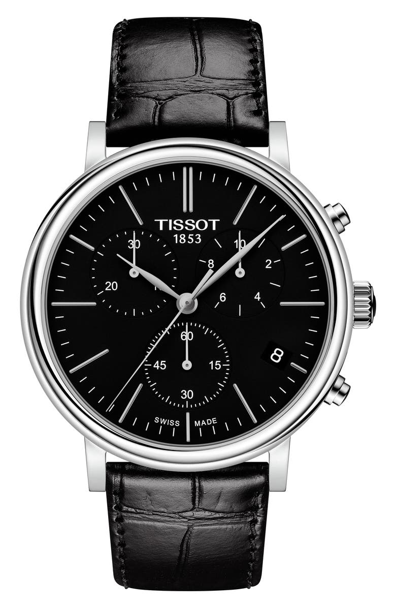 TISSOT Carson Premium Chronograph Leather Strap Watch, 41mm, Main, color, BLACK/ SILVER