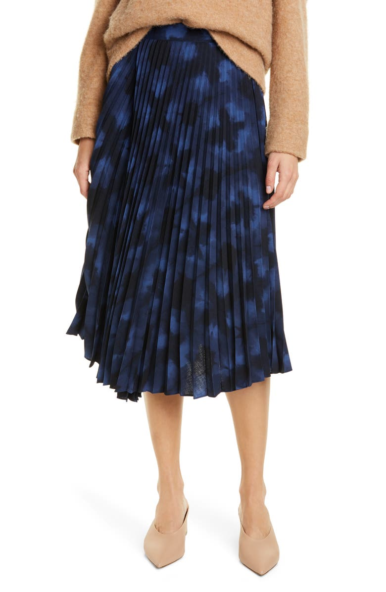 VINCE Tie Dye Pleated Skirt, Main, color, HYDRA