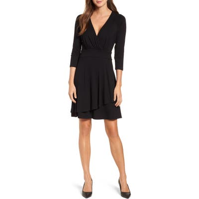 Karen Kane Wrap Style Drape Front Dress, Black